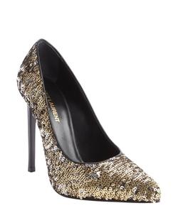 Saint Laurent  - Gold Sequin Detail Pointed Toe Pumps