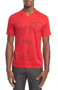 Z Zegna  - Geo Print Graphic V-Neck T-Shirt