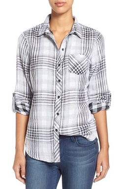 Sandra - Plaid Roll Sleeve Cotton Shirt