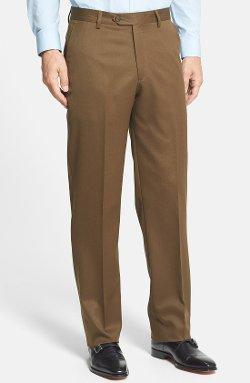 Berle  - Flat Front Wool Gabardine Trousers