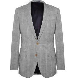 J.Crew   - Prince of Wales Check Wool and Linen-Blend Suit Jacket