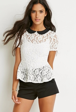 Forever21 - Floral Lace Peplum Top