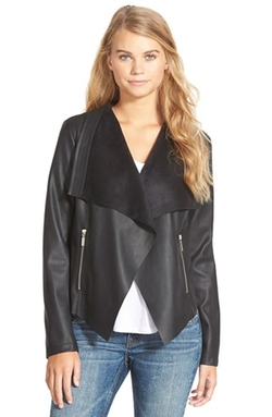 Collection B - Bernardo Faux Leather Drape Front Jacket