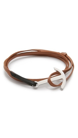 Miansai - Modern Anchor Two Tone Leather Wrap Bracelet
