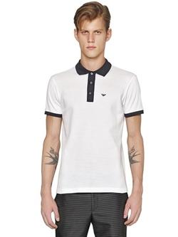 Emporio Armani  - Contrast Cotton Piqué Polo Shirt