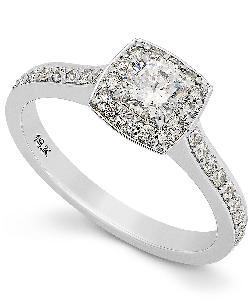 Diamond Ring - 18k White Gold Diamond Round Cushion Halo Engagement Ring
