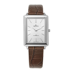 Croton - Leather Strap Rectangular Watch