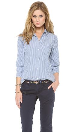 Nili Lotan  - Novelty Chambray Stripe Shirt