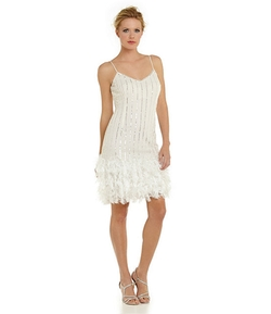 Pisarro Nights - Beaded Feather-Hem Dress