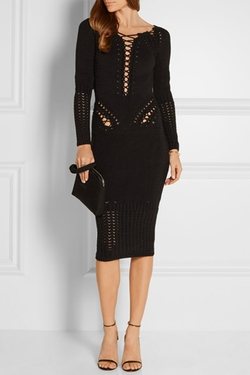 Cushnie Et Ochs  - Lace Up Stretch Knit Cotton Blend Dress
