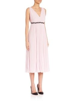 Giamba  - Georgette Pleated V-Neck Dress