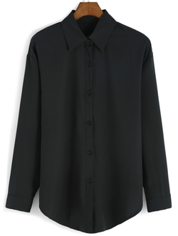Romwe - Lapel Buttons Blouse