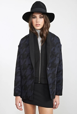 Forever 21 - Boxy Houndstooth Coat