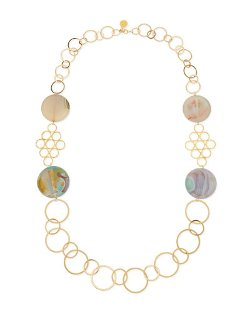 Devon Leigh	 - Round Chalcedony Multi-Circle Necklace