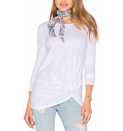 Bobi - Slubbed Jersey Long Sleeve Gathered Front Top