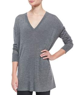 The Row   - Long-Sleeve Oversized V-Neck Sweater