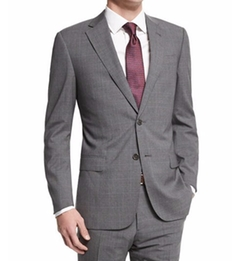 Armani Collezioni  - G-Line Plaid-Windowpane Wool Suit