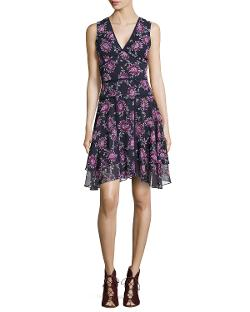 ZAC Zac Posen   - Floral-Print V-Neck Dress, Ink-Fuchsia
