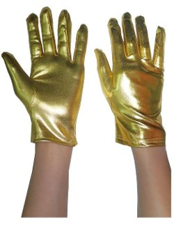 Gloves  - Womens Shiny Metallic Stretch Wrist Length Gloves