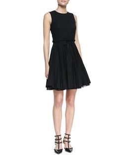 RED Valentino - Sleeveless Accordion-Pleated Dress