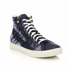 Diesel  - Denim & Leather High-Top Sneakers
