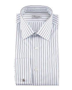Charvet - Striped French-Cuff Poplin Dress Shirt