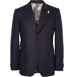 Wooster + Lardini - Navy Peak-Lapel Chalk-Striped Wool Blazer