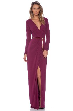 Halston Heritage - Long Sleeve Cross Over V Neck Gown