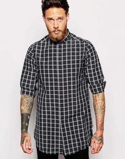Asos - Longline With Monochrome Check Shirt