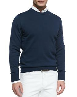Neiman Marcus   - Cotton Crewneck Pullover Sweater