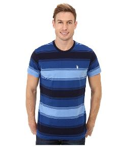 U.S. POLO ASSN.  - Tri-Color Stripe Crew Neck Short Sleeve T-Shirt
