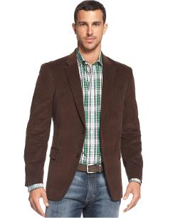 Tommy Hilfiger  - Solid Trim-Fit Corduroy Sport Coat with Elbow Patches
