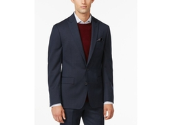 Ryan Seacrest Distinction -  Slim-Fit Blue Pindot Jacket