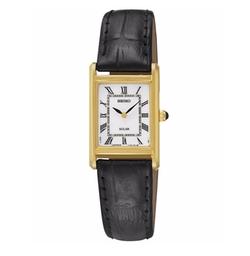 Seiko  - Solar Black Leather Strap Watch