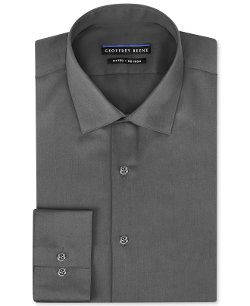 Geoffrey Beene  - Non-Iron Fitted Stretch Sateen Solid Dress Shirt
