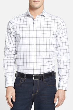 Nordstrom  - Regular Fit Windowpane Plaid Sport Shirt
