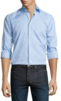 Eton - Mini Dot-Print Long-Sleeve Sport Shirt