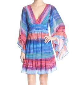 Betsey Johnson - Stripe Flutter Sleeve A-Line Dress