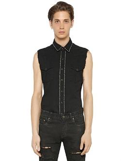 Saint Laurent - Sleeveless Studded Denim Western Shirt