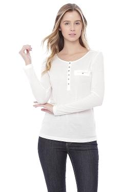 Alygne - Henley Long Sleeve Stretchy T-Shirt