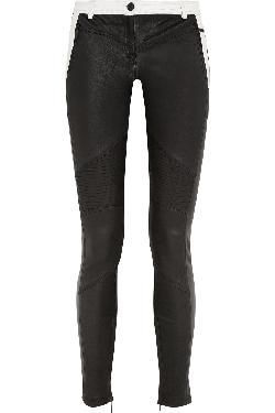 KARL LAGERFELD  - Bikey Biker two-tone leather skinny pants