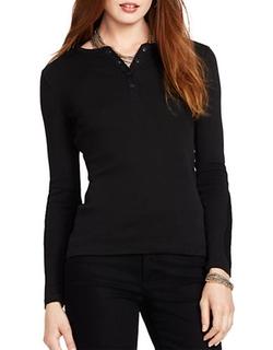 Lauren Ralph Lauren  - Crochet-insert Cotton Henley Shirt