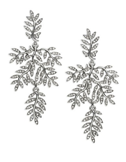 Oscar De La Renta  - Crystal Leaf Clip-On Drop Earrings