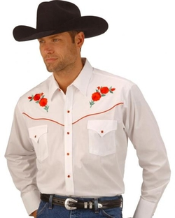 Ely Cattleman - Embroidered Rose Design Western Shirt