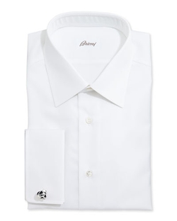 Brioni  - White-On-White Stripe Dress Shirt