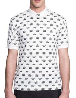 Dolce & Gabbana - Crown Print Cotton Polo Shirt