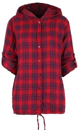 Ililily - Hooded Plaid Shirt