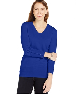 JM Collection - V-Neck Button-Sleeve Sweater