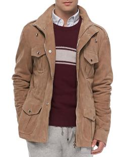 Michael Bastian  - Suede Army Jacket, Tan