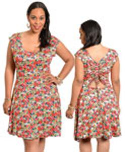 To To - Sassy back floral print woman plus size dress red 12220